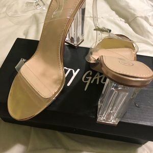 Nasty Gal Clear Rose Gold Strap Heels